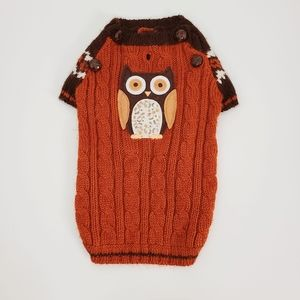 Boots & Barkley Orange Owl Novelty Dog Sweater